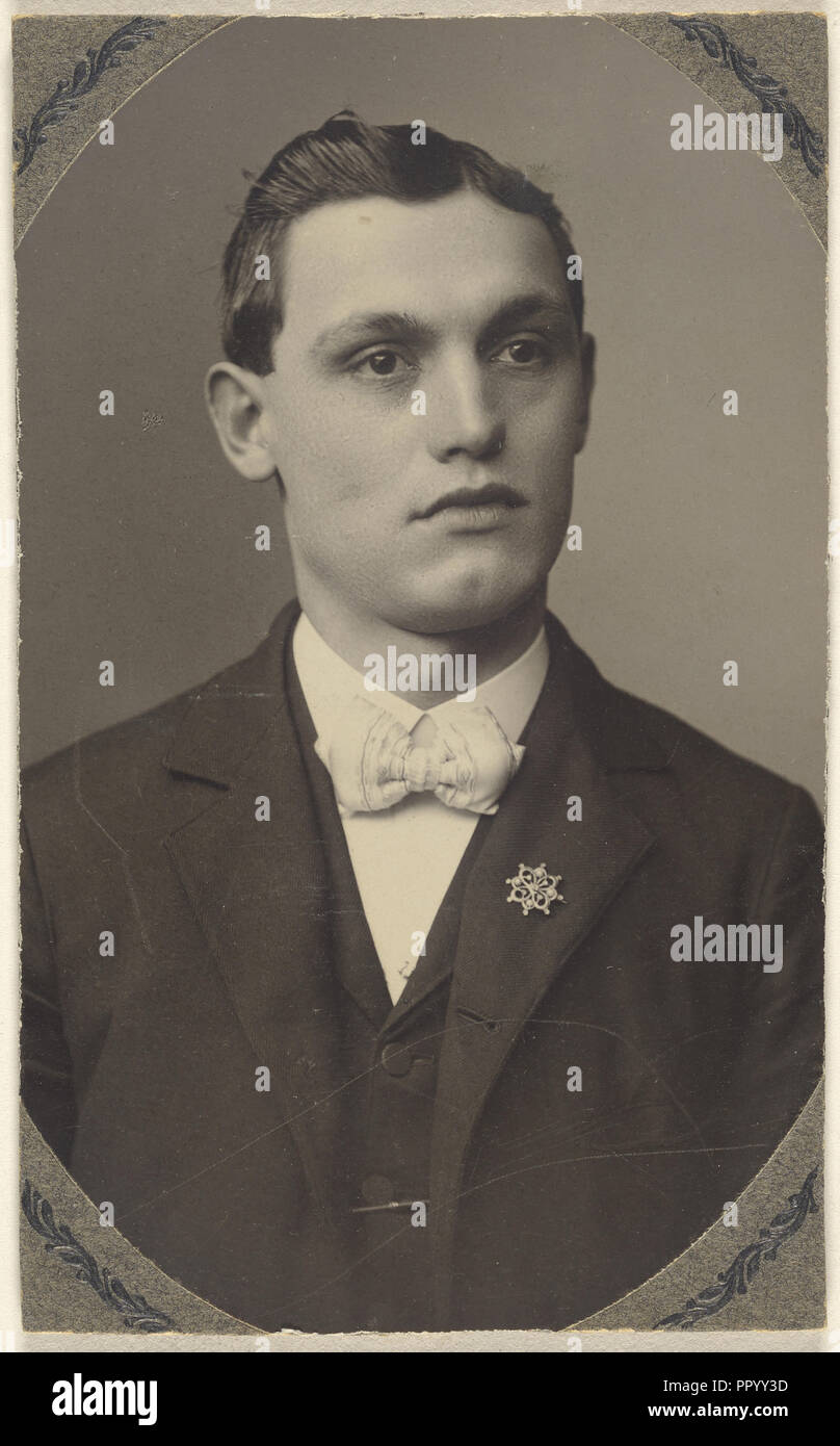 young man wearing a white bow tie and a pin on his lapel; 1875 - 1880; Platinum print Stock Photo