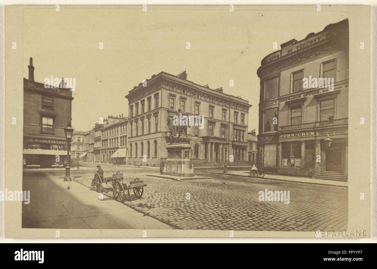 Queen's Statue & Club House, Glasgow; H. Macfarlane, Scottish, active Glasgow, Scotland 1860s, 1864 - 1865; Albumen silver - Stock Image