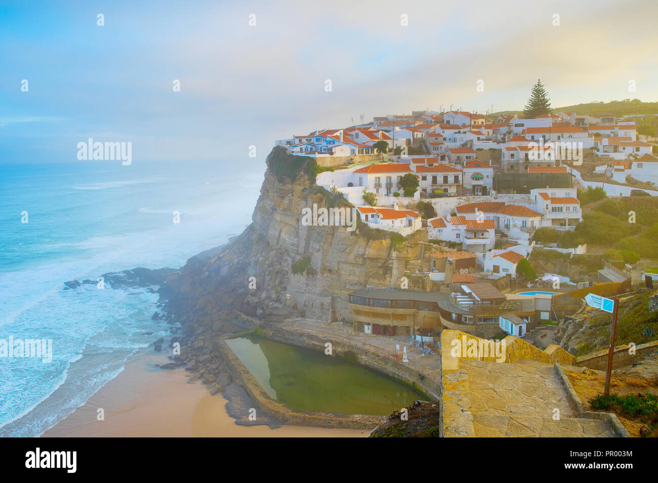 View of Azenha do Mar at sunrise. Portugal Stock Photo