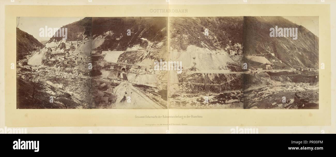 Gotthardbahn Gesammt-Uebersicht der Bahnentwickelung sic in der Biaschina; Adolphe Braun & Cie, French, 1876 - 1889, Dornach - Stock Image