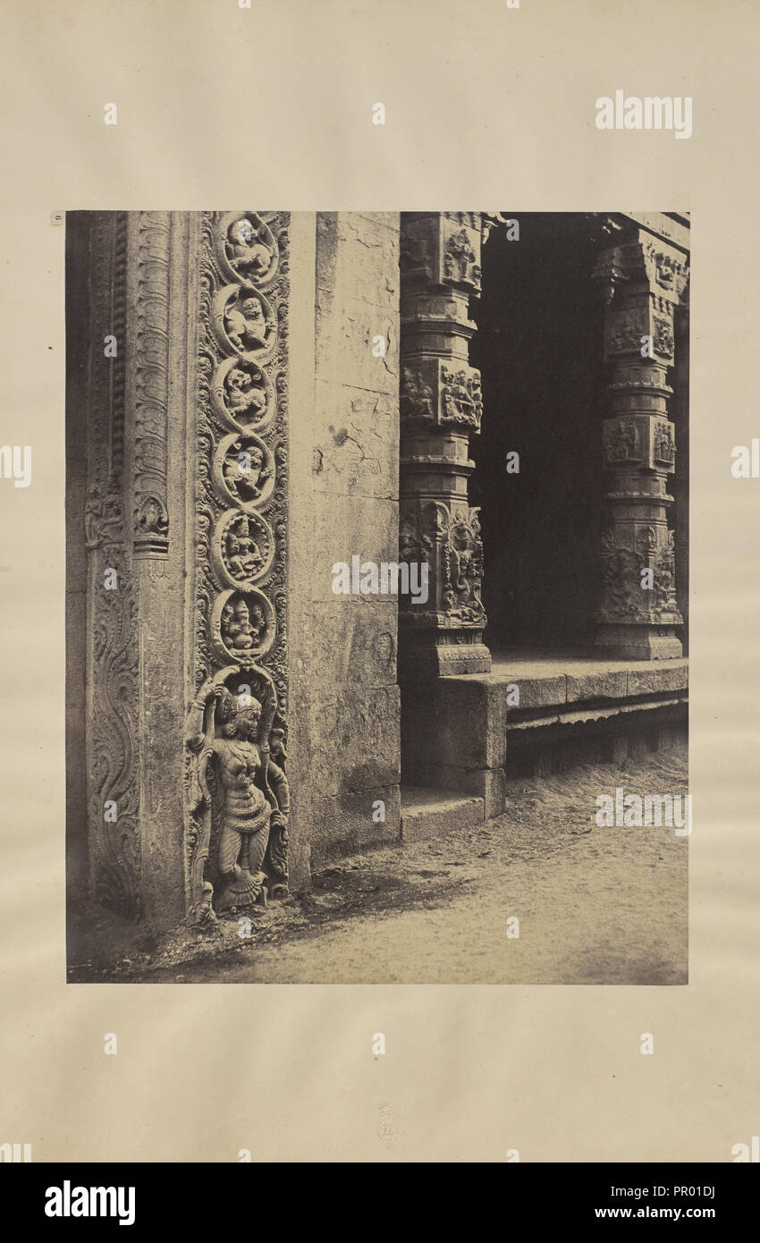Madura. Pillars in the Recessed Portico in the Roya Gopurum with the Base of One of the Four Sculptured Monoliths; Capt - Stock Image
