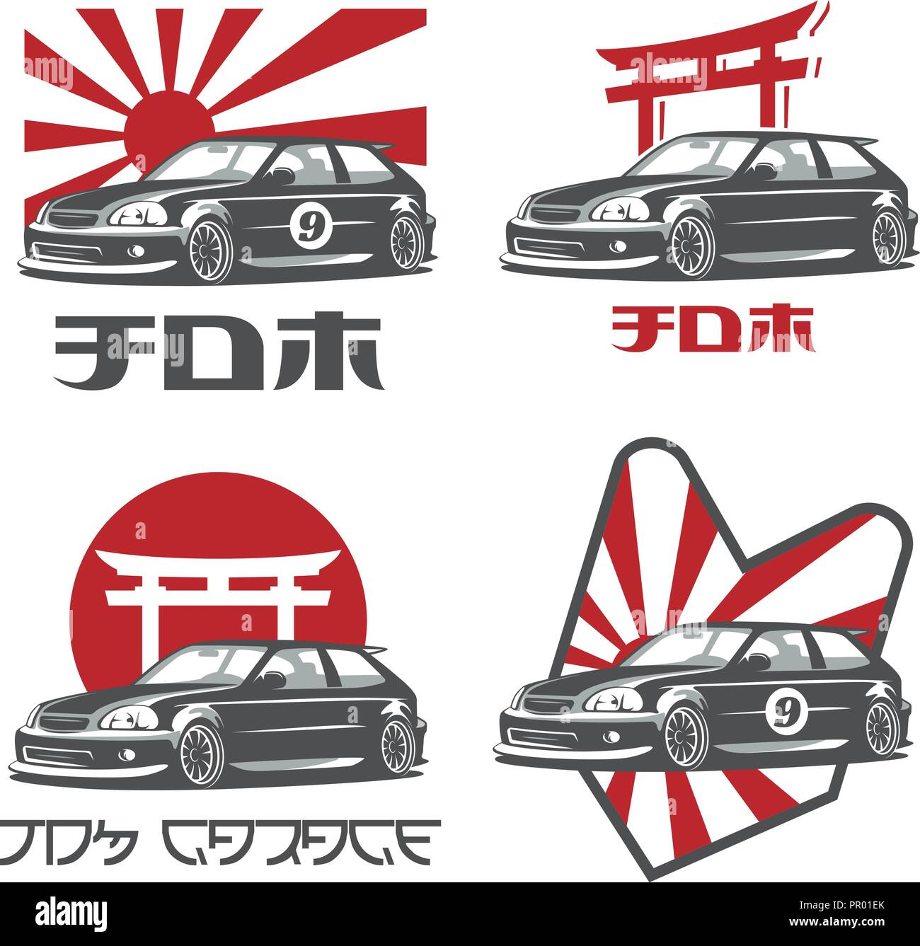 Classic 90s Japanese Car Logo Emblems And Badges Isolated On White