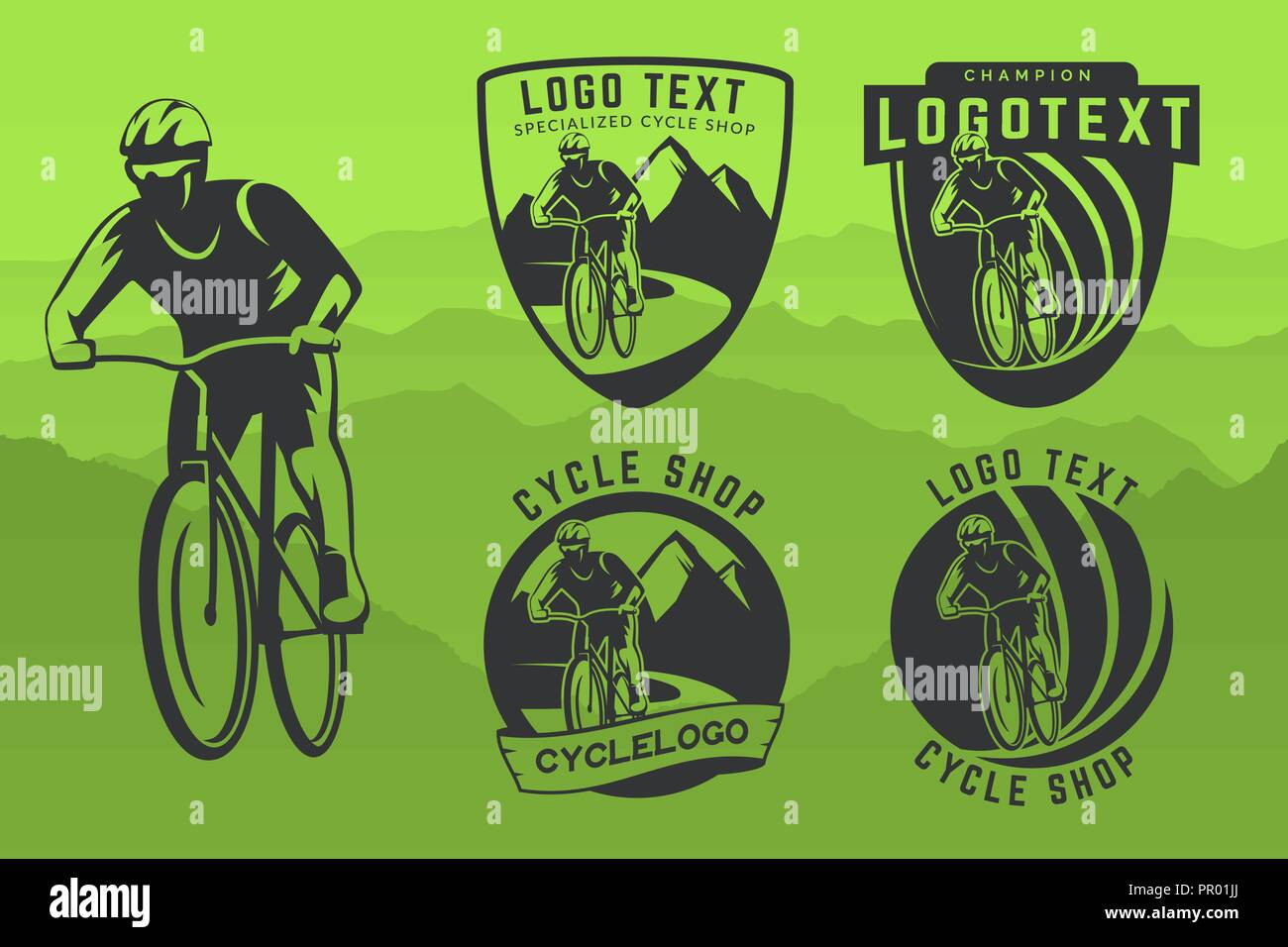 Set of bicycle logo, emblems and badges on green background  Off