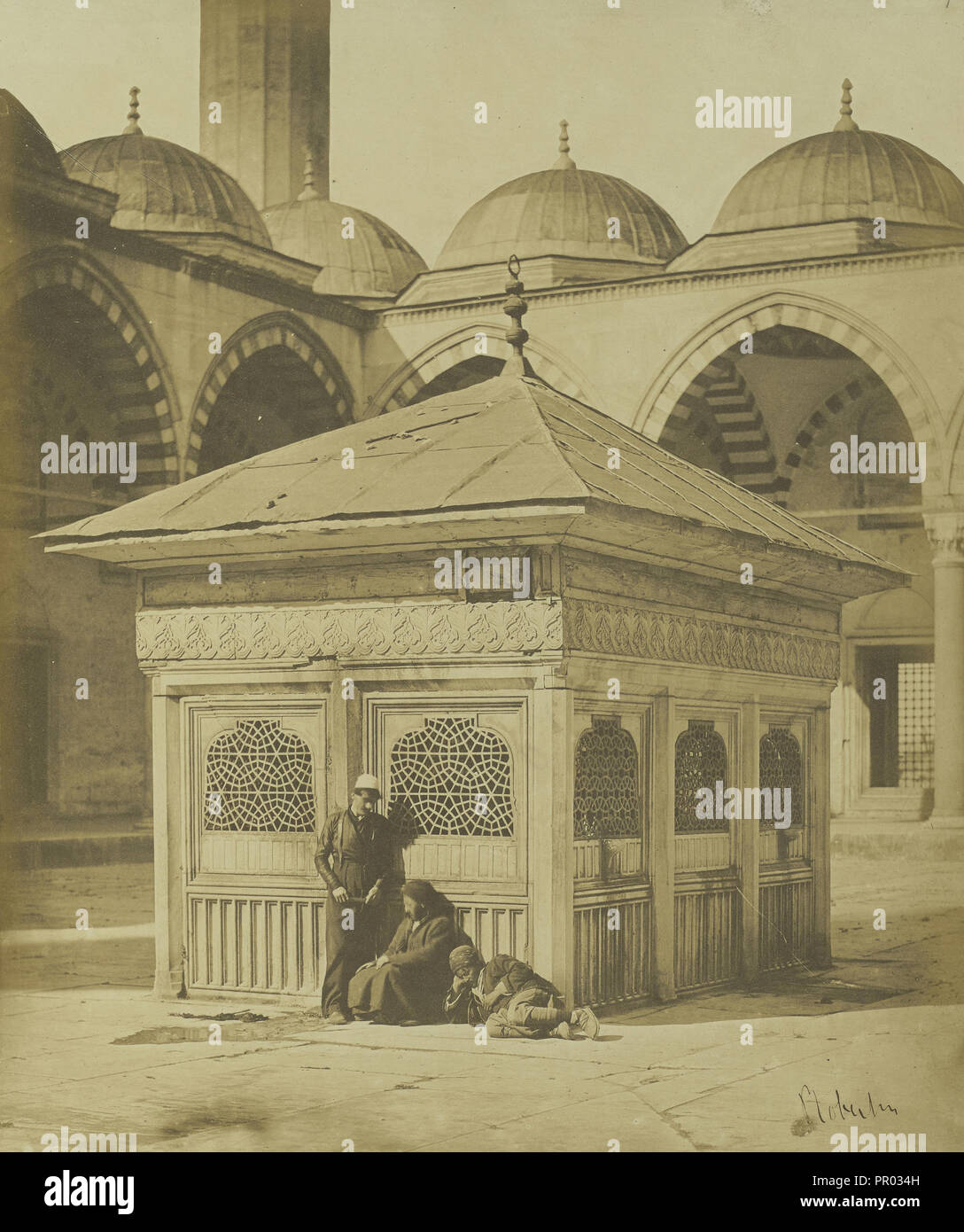 Fountain in the Court of the Sulimanijeh; James Robertson, English, 1813 - 1888, London, England; 1853; Salted paper print; 28. - Stock Image