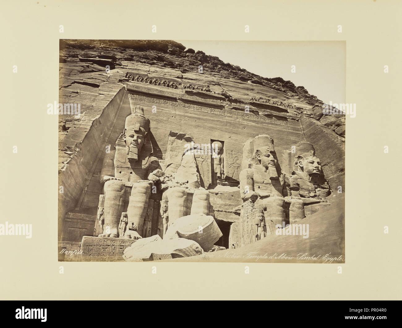 Nubie. Temple d'Abou-Simbel, égypte; Félix Bonfils, French, 1831 - 1885, 1870s; Albumen silver print - Stock Image