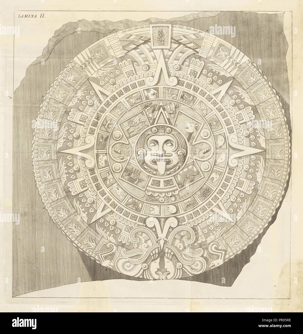 Plate 2, Descripción histórica y cronológica de las dos piedras que con ocasión del nuevo empedrado que se está formando - Stock Image