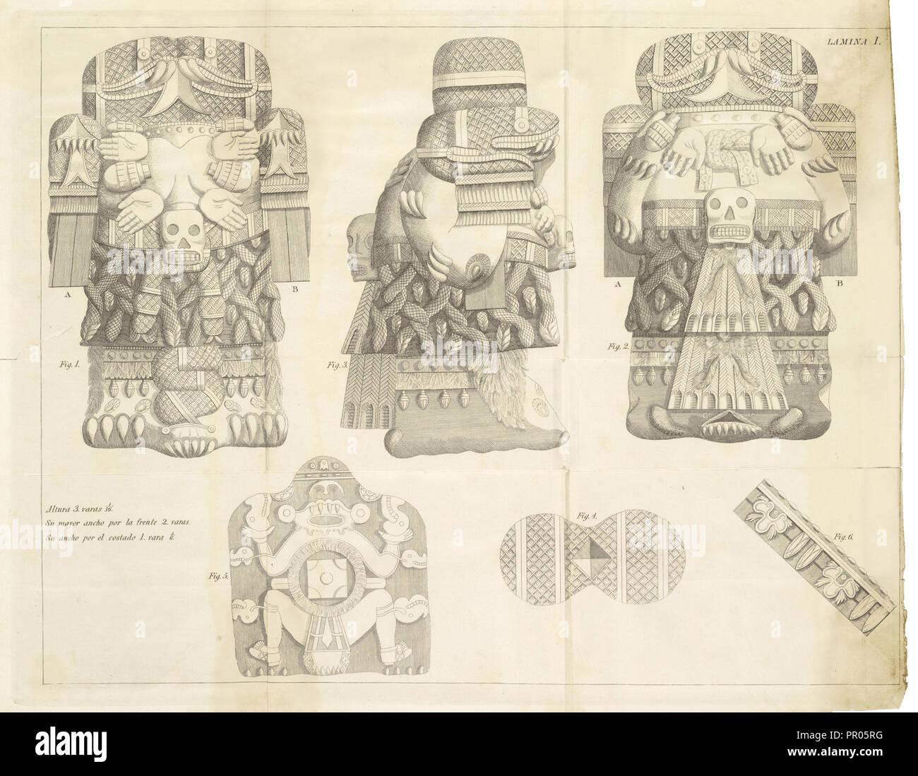 Plate 1, Descripción histórica y cronológica de las dos piedras que con ocasión del nuevo empedrado que se está formando - Stock Image
