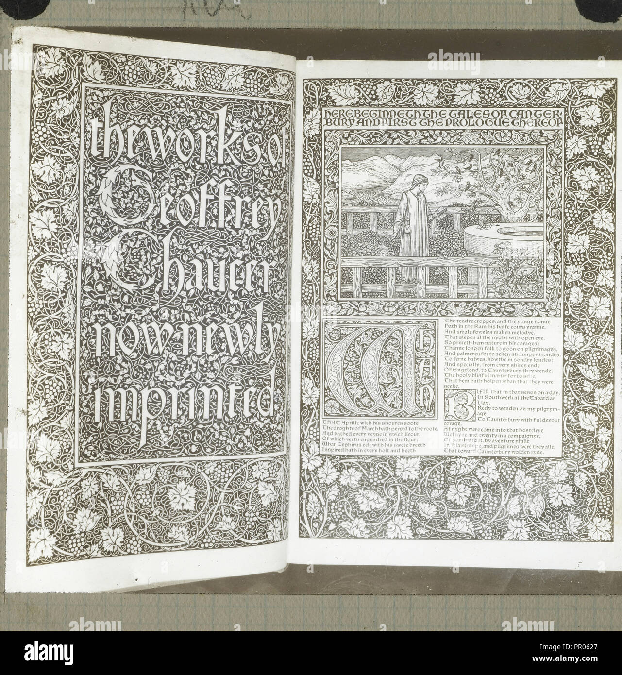 Title page and first page of  The Works of Geoffrey Chaucer; Frederick H. Evans, British, 1853 - 1943, 1890 - 1899; Lantern - Stock Image