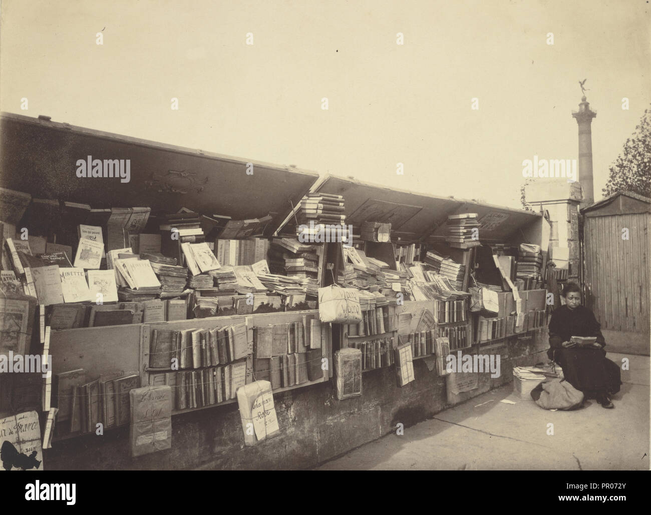 Secondhand Book Dealer, place de la Bastille; Eugène Atget, French, 1857 - 1927, Paris, France; negative 1910 - 1911; Albumen - Stock Image