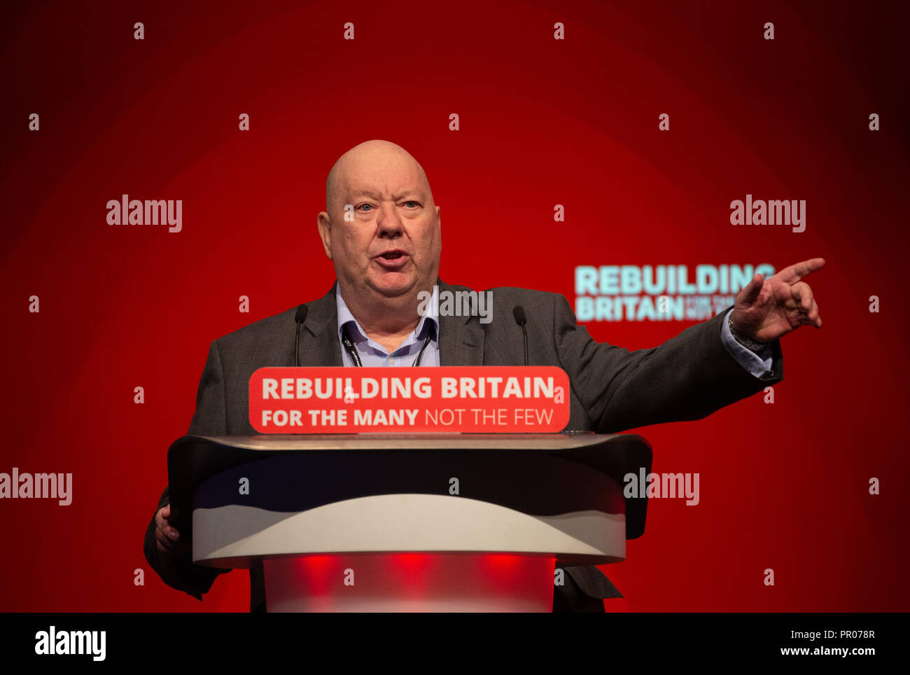 Mayor of Liverpool, Joe Anderson, speaking at the Labour Party Conference in Liverpool. - Stock Image