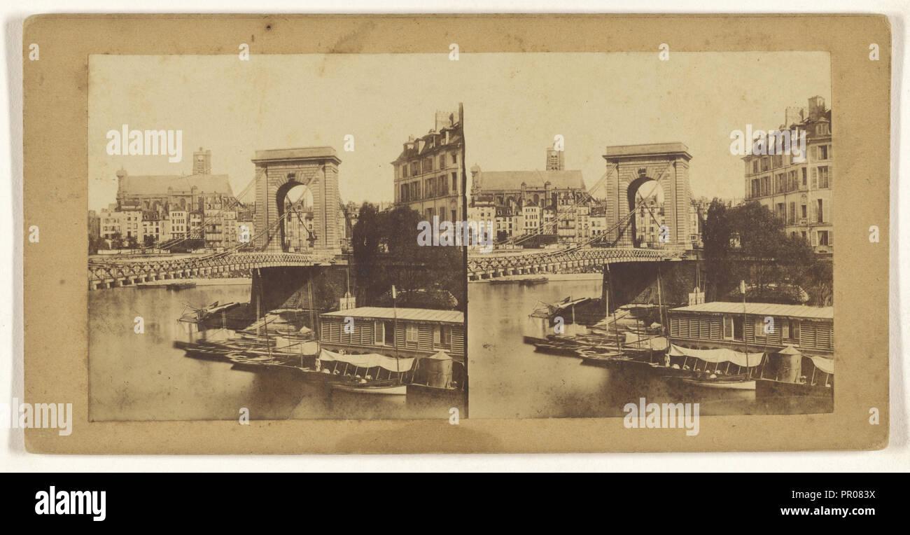 Le pont Louis Philippe; French; 1860; Albumen silver print - Stock Image