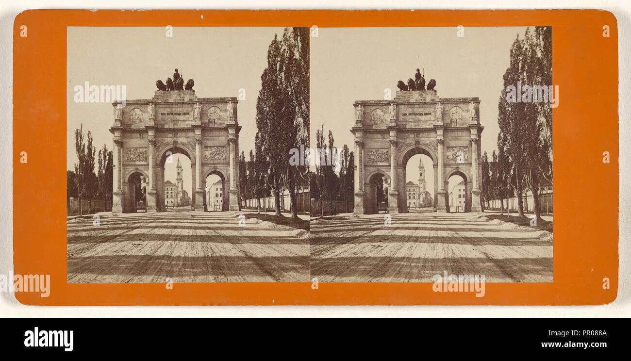 Munchen, Germany, Siegesthor von Aussen; German; about 1870; Albumen silver print - Stock Image