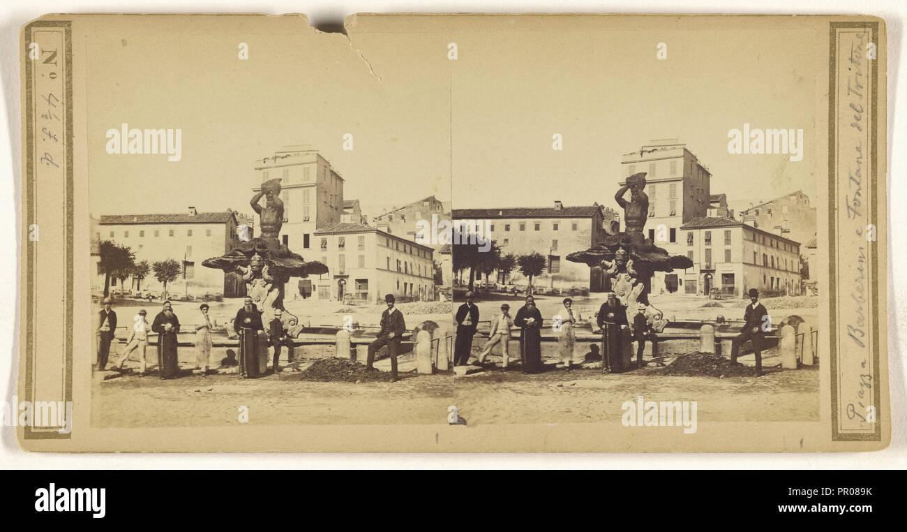 Piazza Barberini e Fontane del Tritone; Italian; about 1860; Albumen silver print Stock Photo