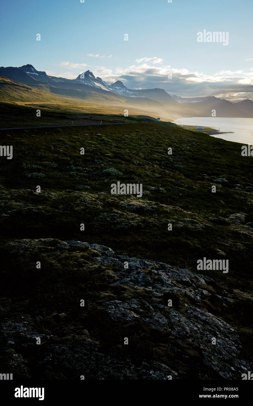 The landscape of the east fjords along the coast of east Iceland. - Stock Image
