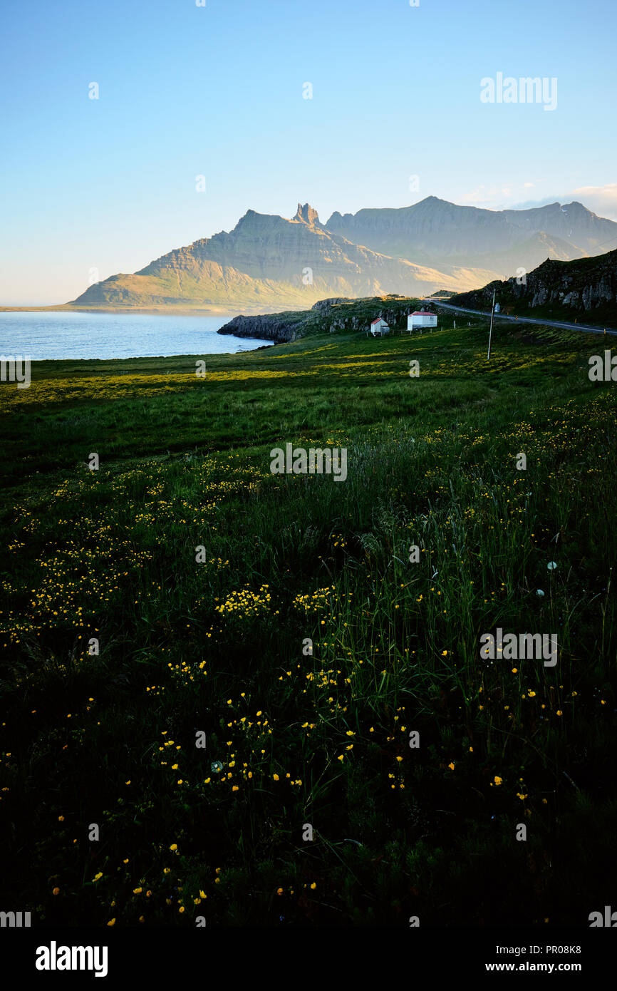 The coastal landscape of the east fjords in east Iceland. - Stock Image