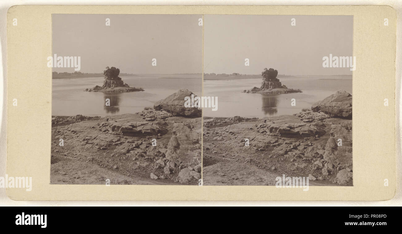 Rock in the midst of Jamuna; about 1900; Gelatin silver print Stock Photo