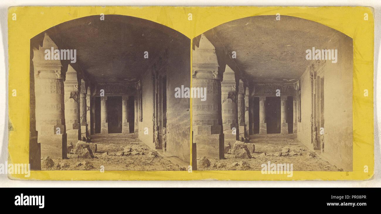 Cave No. 23, Entrance, Adjanta; about 1870; Albumen silver print - Stock Image