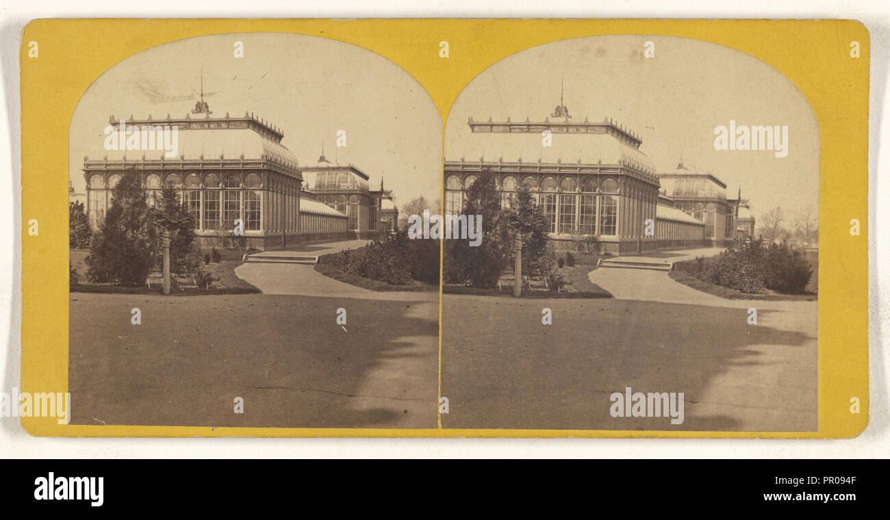 Conservatory, Agricultural Dept; American; about 1870; Albumen silver print - Stock Image