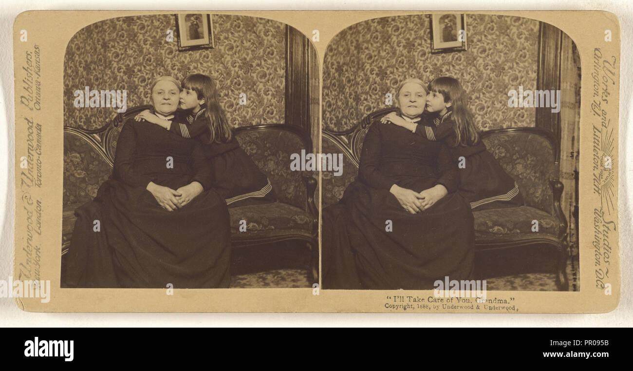 I'll Take Care of You, Grandma.; Underwood & Underwood, American, 1881 - 1940s, 1888; Albumen silver print - Stock Image
