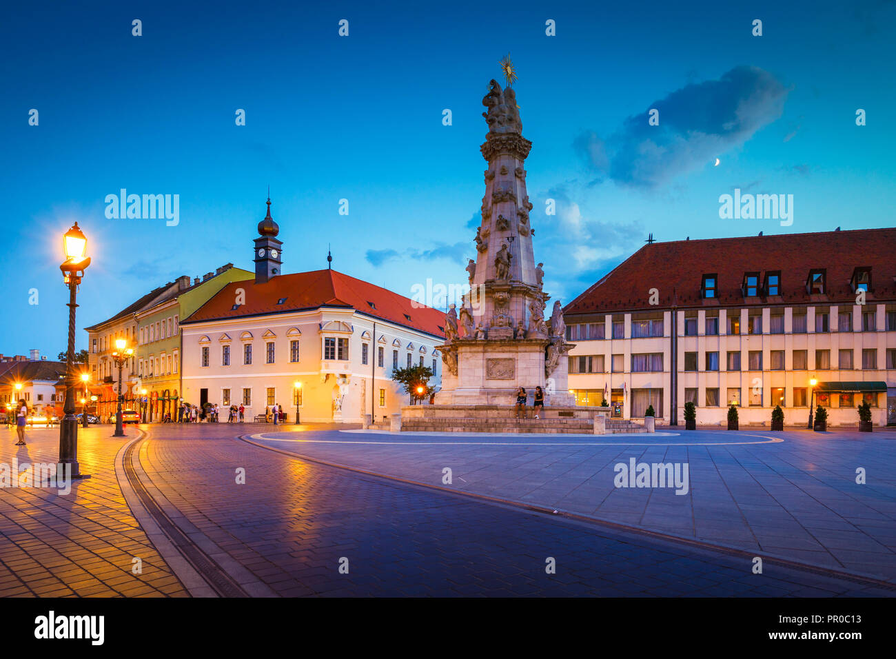 Budapest, Hungary - August 16, 2018: Evening view of Trinity square in historic city centre of Buda, Hungary. - Stock Image