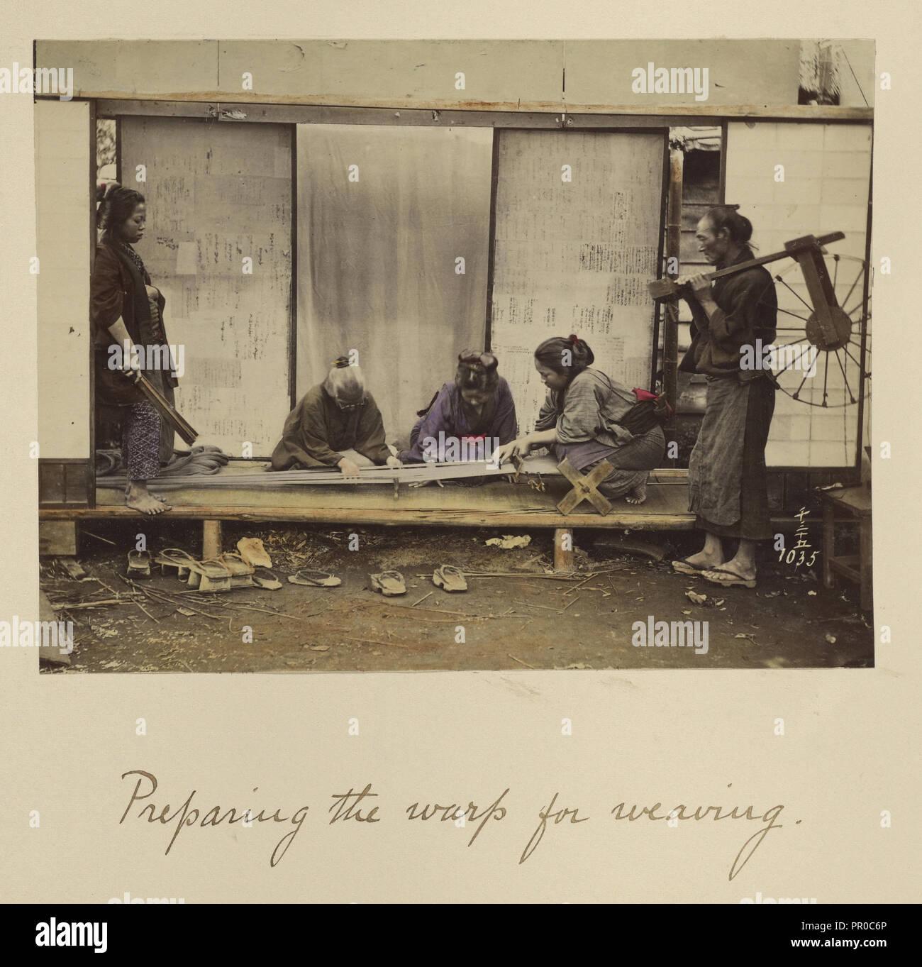 Preparing the Warp for Weaving; Shinichi Suzuki, Japanese, 1835 - 1919, Japan; about 1873 - 1883; Hand-colored Albumen silver - Stock Image
