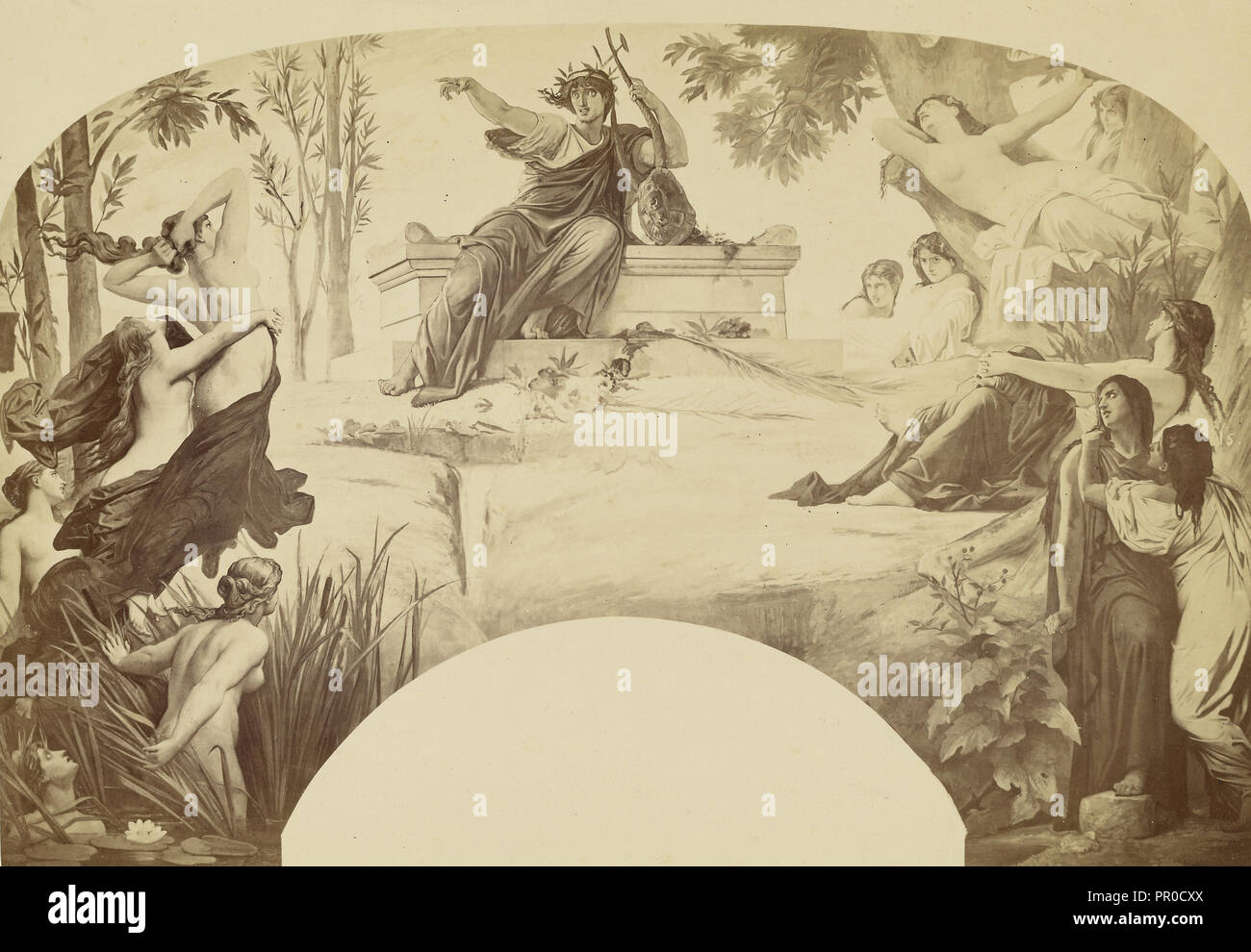 La Musique dramatique; Louis-Émile Durandelle, French, 1839 - 1917, Paris, France; about 1875; Albumen silver print - Stock Image