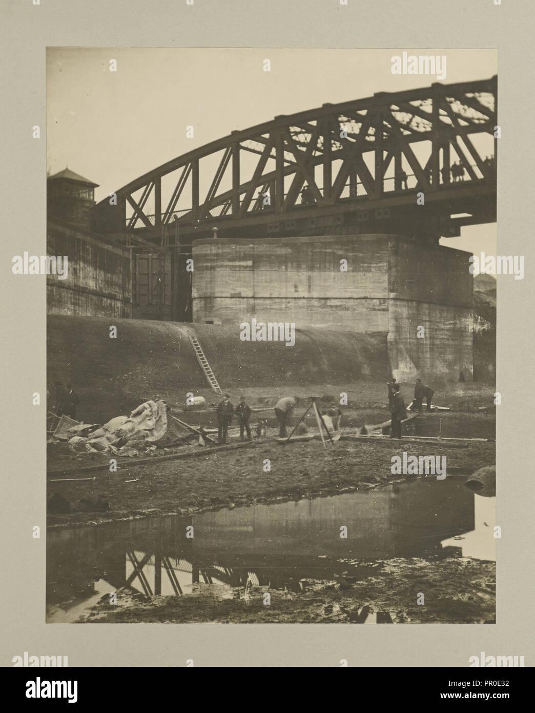 Stockton Heath - Cutting under Swing Bridge; G. Herbert & Horace C. Bayley; Manchester, England; negative November 1893; print - Stock Image