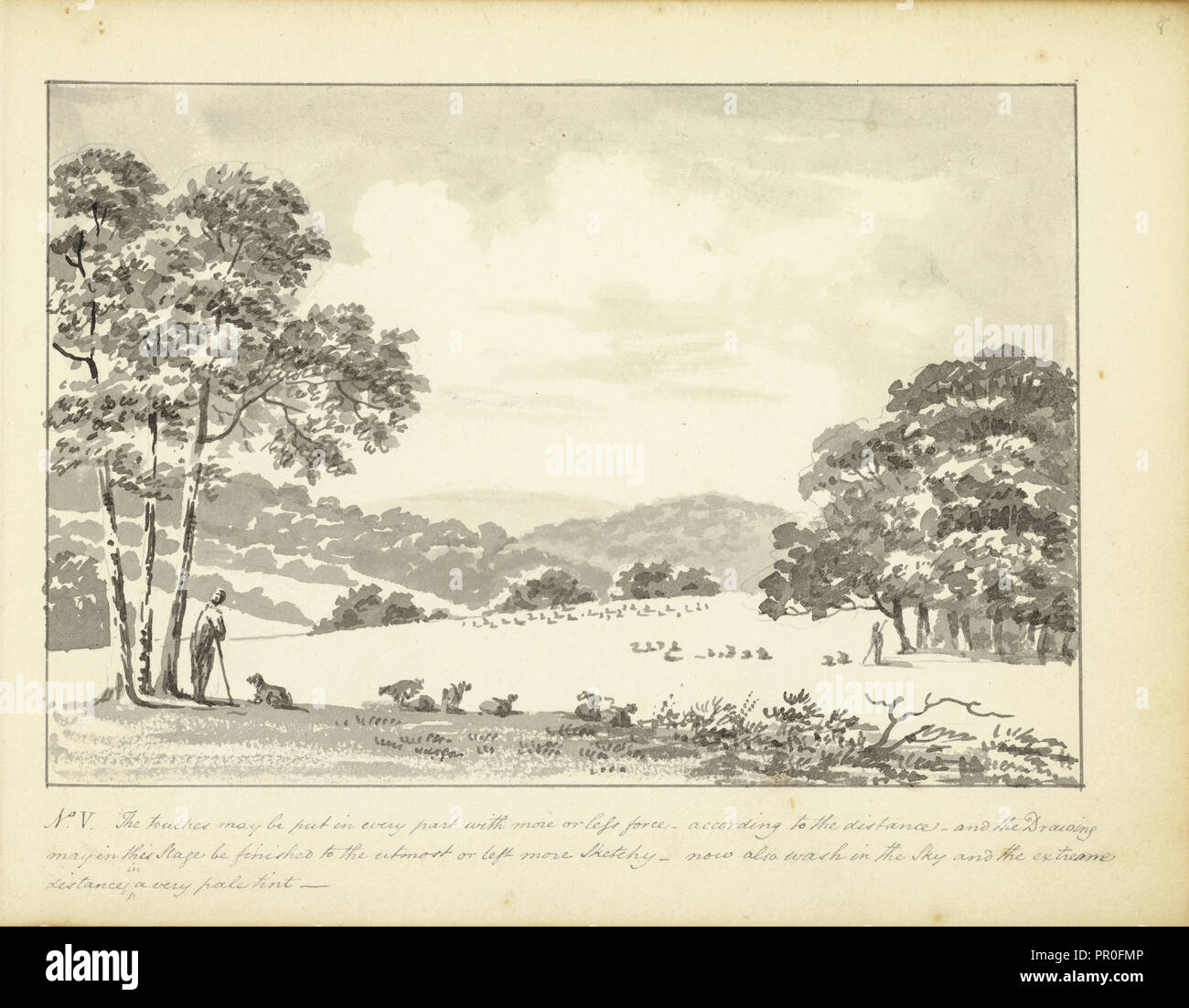 No. V . The touches may be put in every part, A few hints concerning landscape sketches, ca. 1810, Humphry Repton architecture - Stock Image