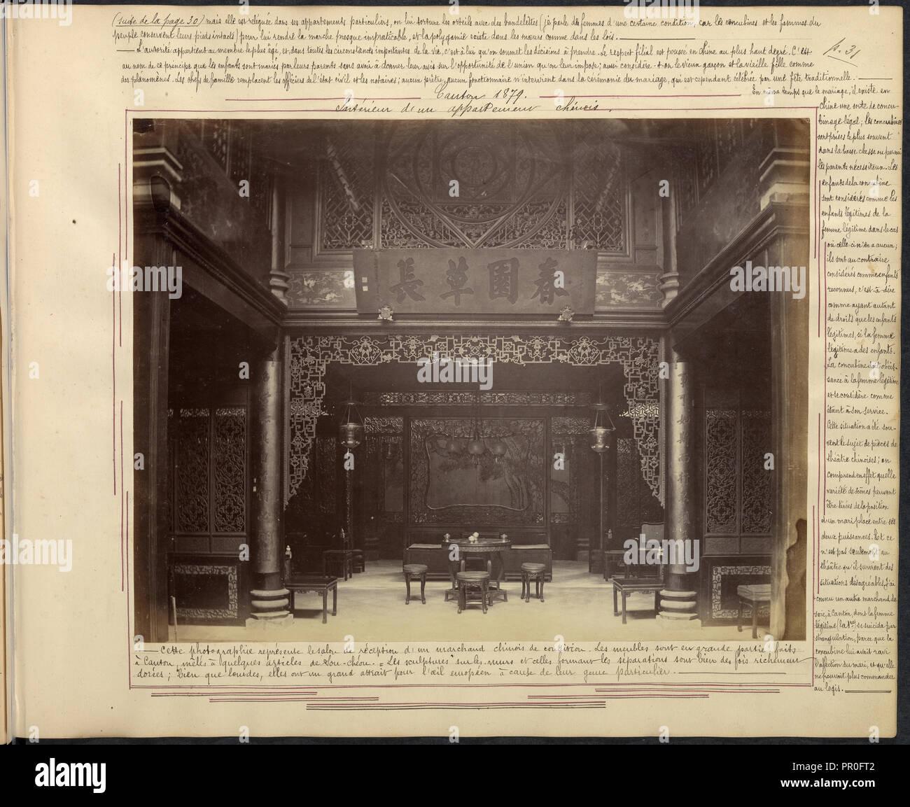 Canton, intérior d'un appartement chinois, Chine-Japon photographic album, Prat, G., Albumen, 1879 - Stock Image