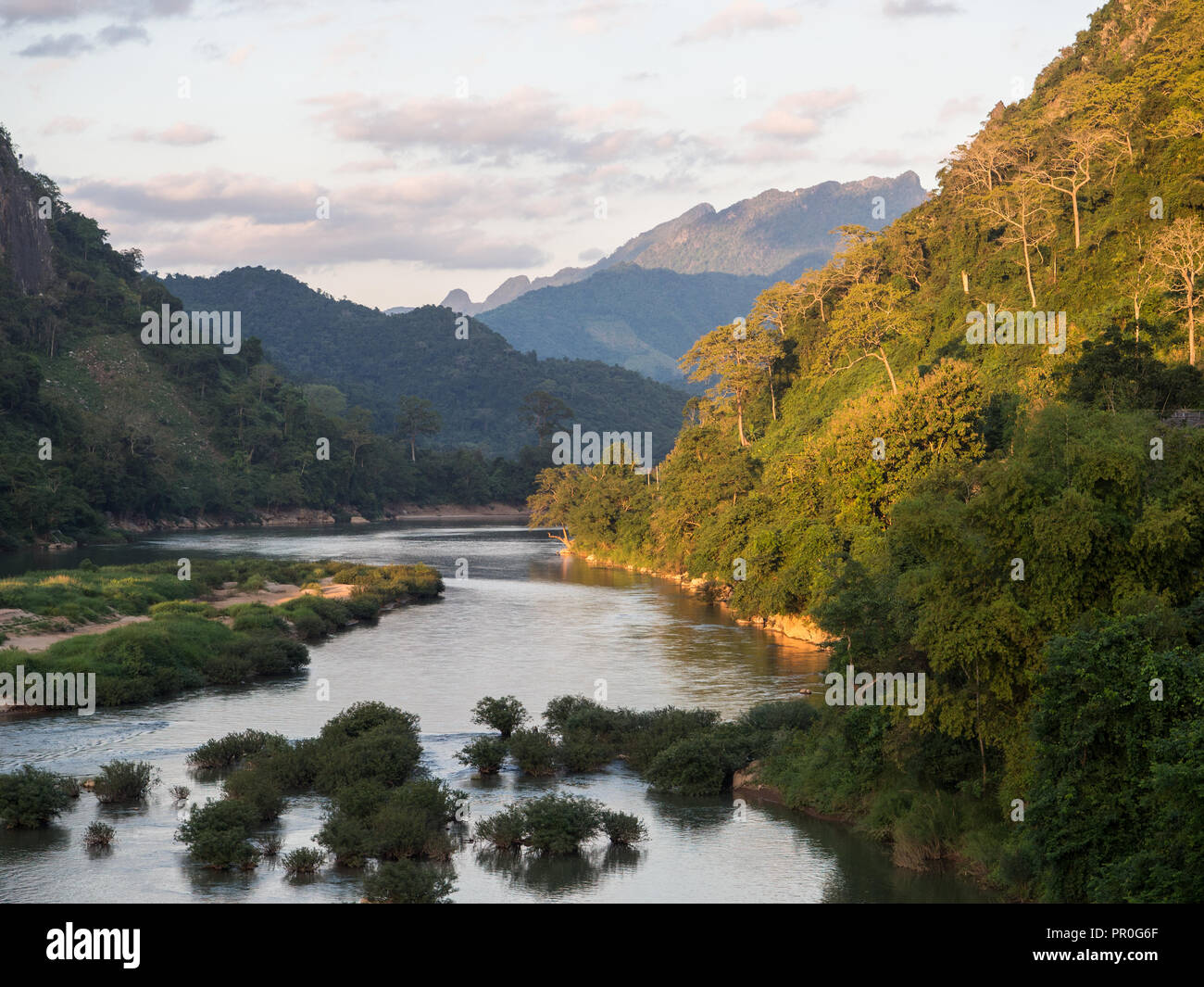View of mountains and the Nam Ou River, Nong Khiaw, Laos, Indochina, Southeast Asia, Asia Stock Photo