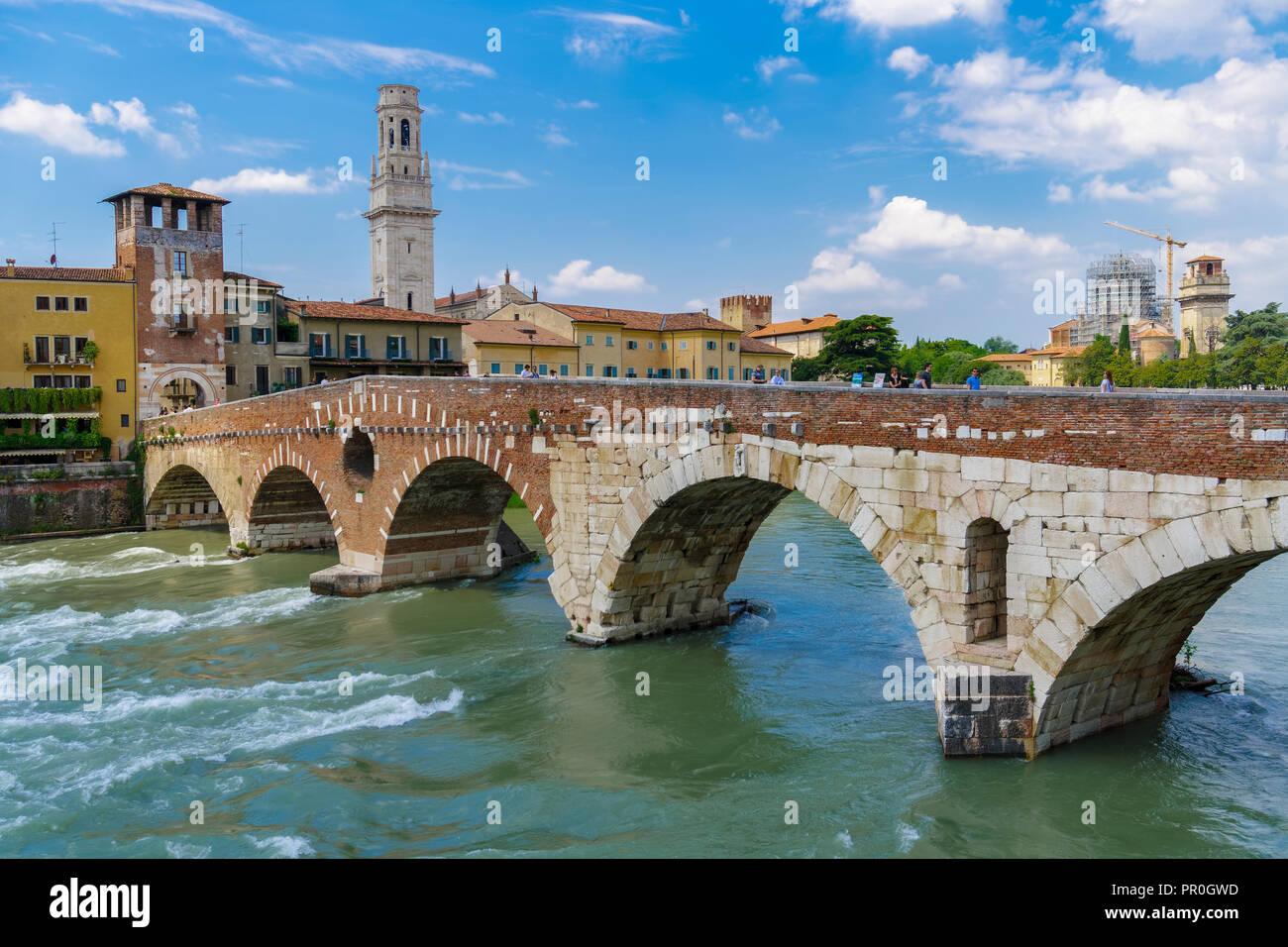Ponte Pietra, the stone Roman arch bridge crossing River Adige, Verona, Veneto, Italy, Europe Stock Photo
