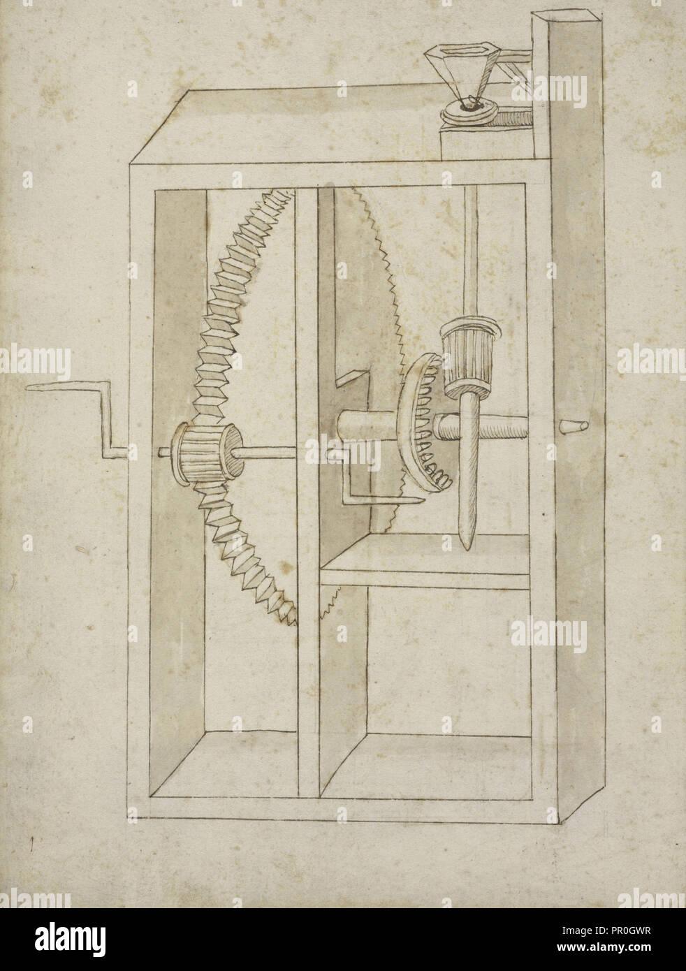 Mill Powered By Crank Edificij Et Machine Ms Martini Francesco Di Schematic Giorgio 1439 1502 Brown Ink And Wash On Paper