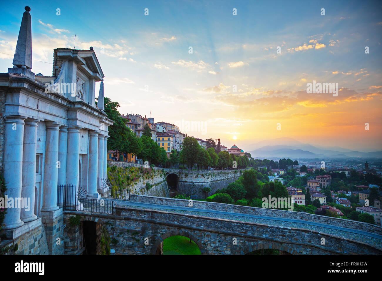 City view from Porta San Giacomo, Upper Town (Citta Alta), Bergamo, Lombardy, Italy, Europe - Stock Image