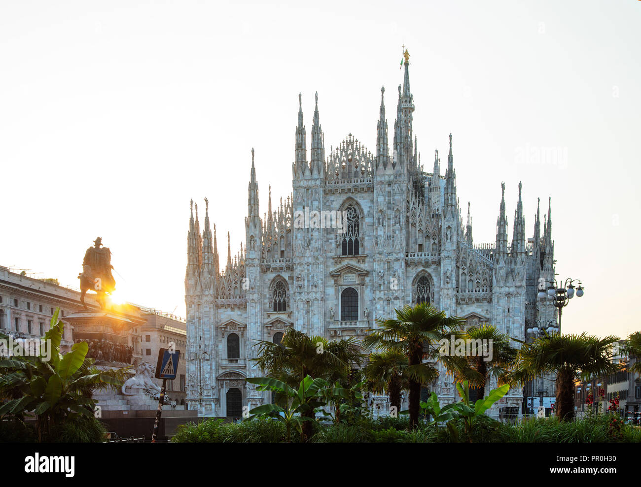 Duomo (Milan Cathedral) and statue of Vittorio Emanuele II, Milan, Lombardy, Italy, Europe - Stock Image