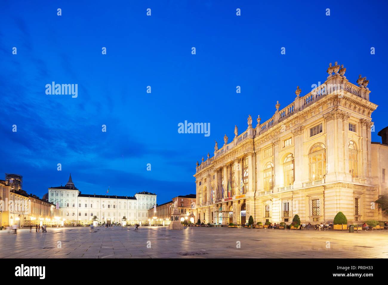 Palazzo Madama and Palazzo Reale, Turin, Piedmont, Italy, Europe - Stock Image