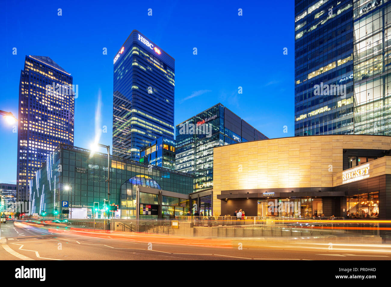 Canary Wharf, One Canada Square, Docklands, London, England, United Kingdom, Europe - Stock Image