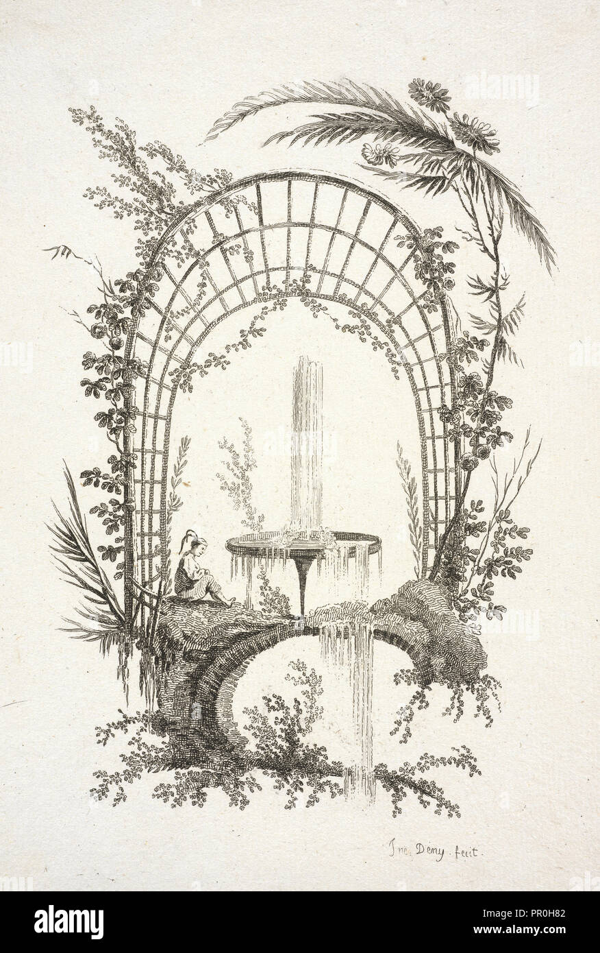 Fountain, Jean Pillement etchings, Deny, Jeanne, 1749-ca. 1815, Pillement, Jean, 1728-1808, Etching, 1770, Jne. Deny fecit - Stock Image