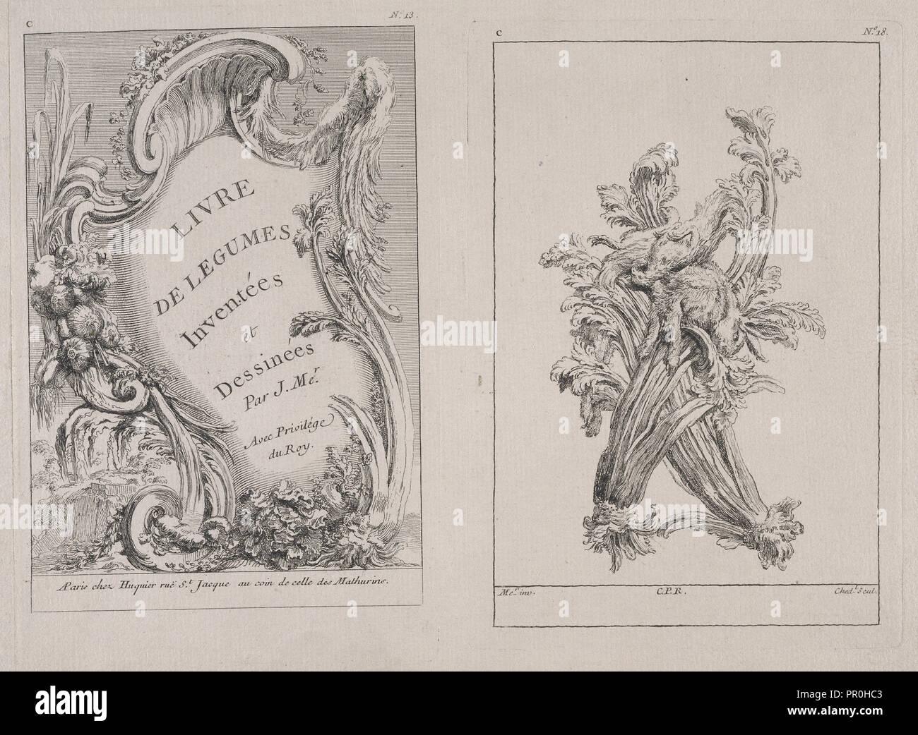 Plates C13 and C18 from the Livre de légumes inventées et dessinées par J. Me.r, Chedel, Pierre Quentin, 1705-1763, Huquier - Stock Image