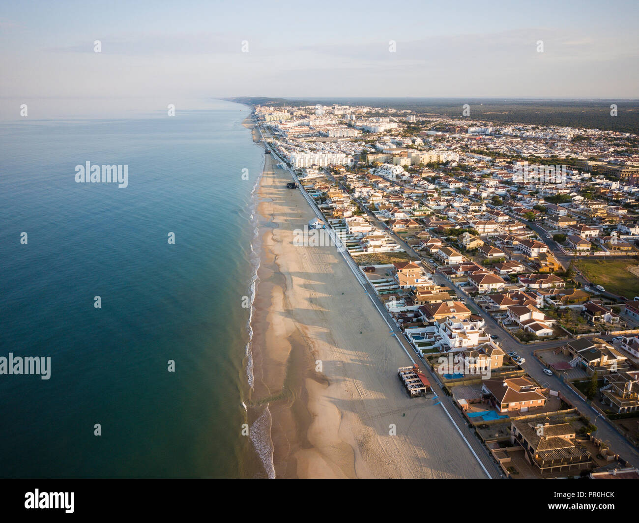 Aerial view of Matalascanas, by drone, Huelva District, Andalucia, Spain, Europe - Stock Image