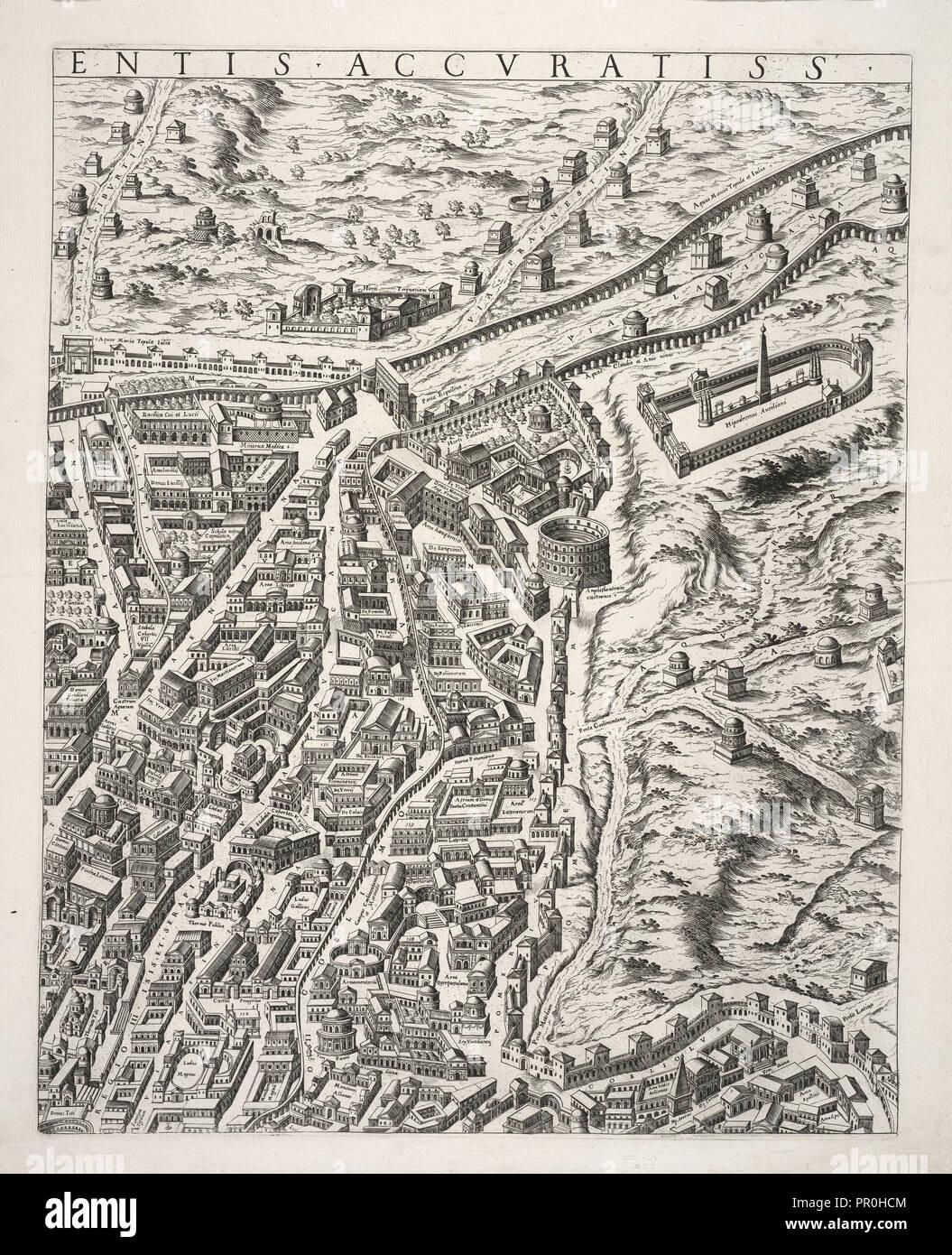 Urbis Romae Sciographia ex Antiquus Monumentis Accuratiss. Delineata. Collection of maps of Rome, Du Pérac, Etienne, d. 1604 - Stock Image