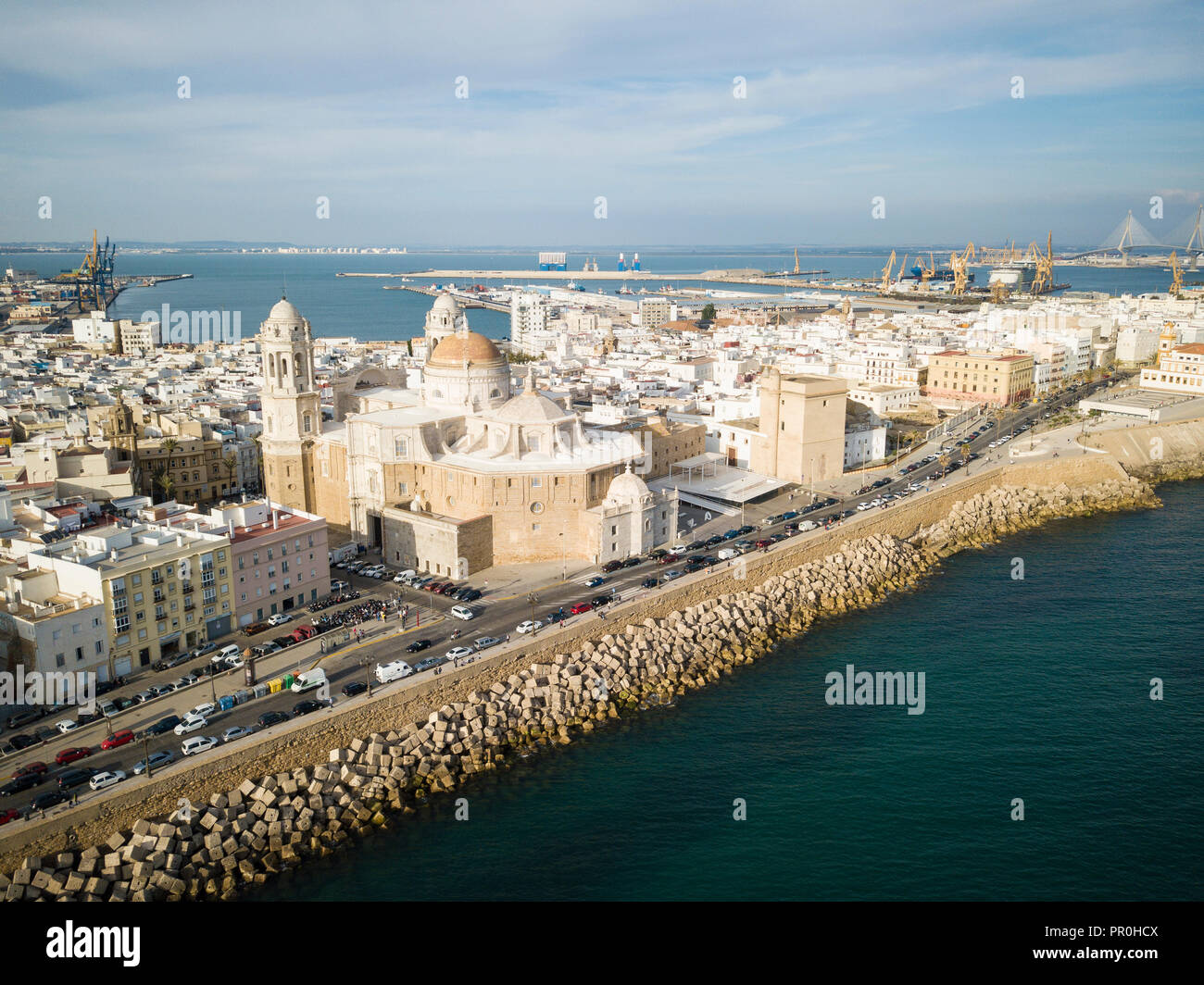 Aerial view of Cadiz Cathedral, by drone, Cadiz, Andalucia, Spain, Europe - Stock Image