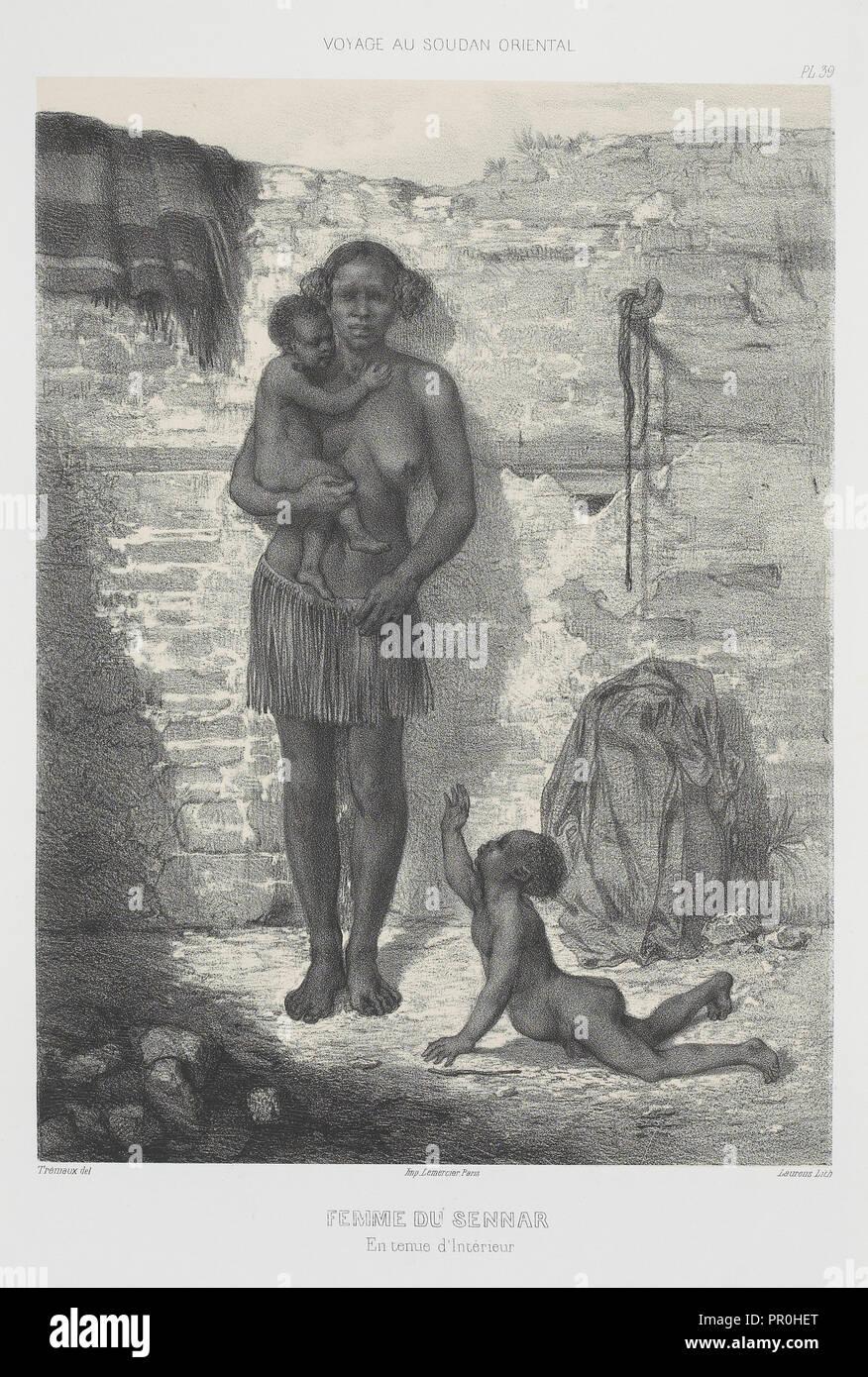 Femme du Sennar, Voyages au Soudan oriental et dans l'Afrique septentrionale, exécutés de 1847 à 1854, Trémaux, P., Pierre - Stock Image