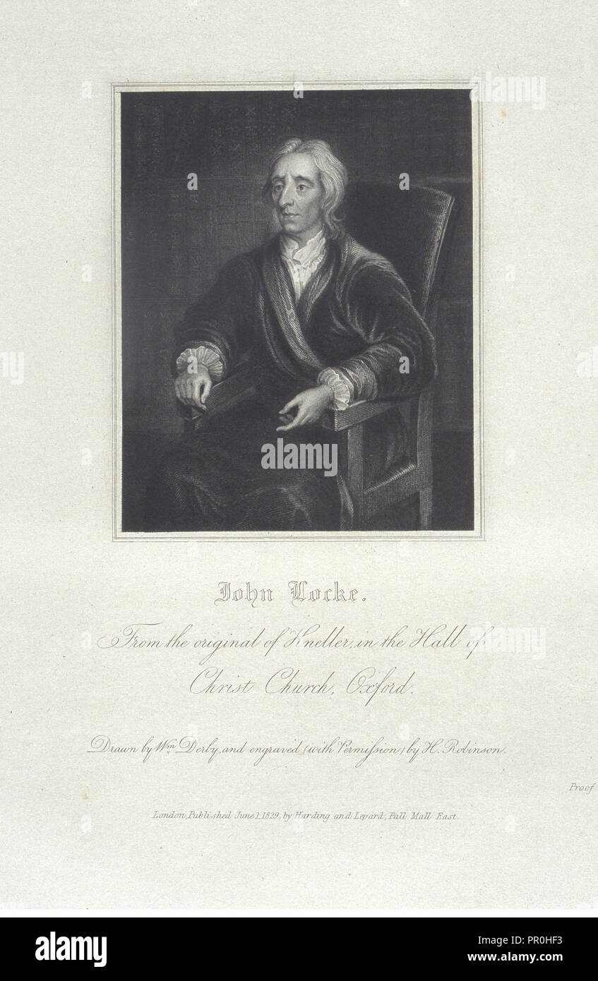 John Locke, Portraits of illustrious personages of Great Britain: engraved from authentic pictures, in the galleries - Stock Image