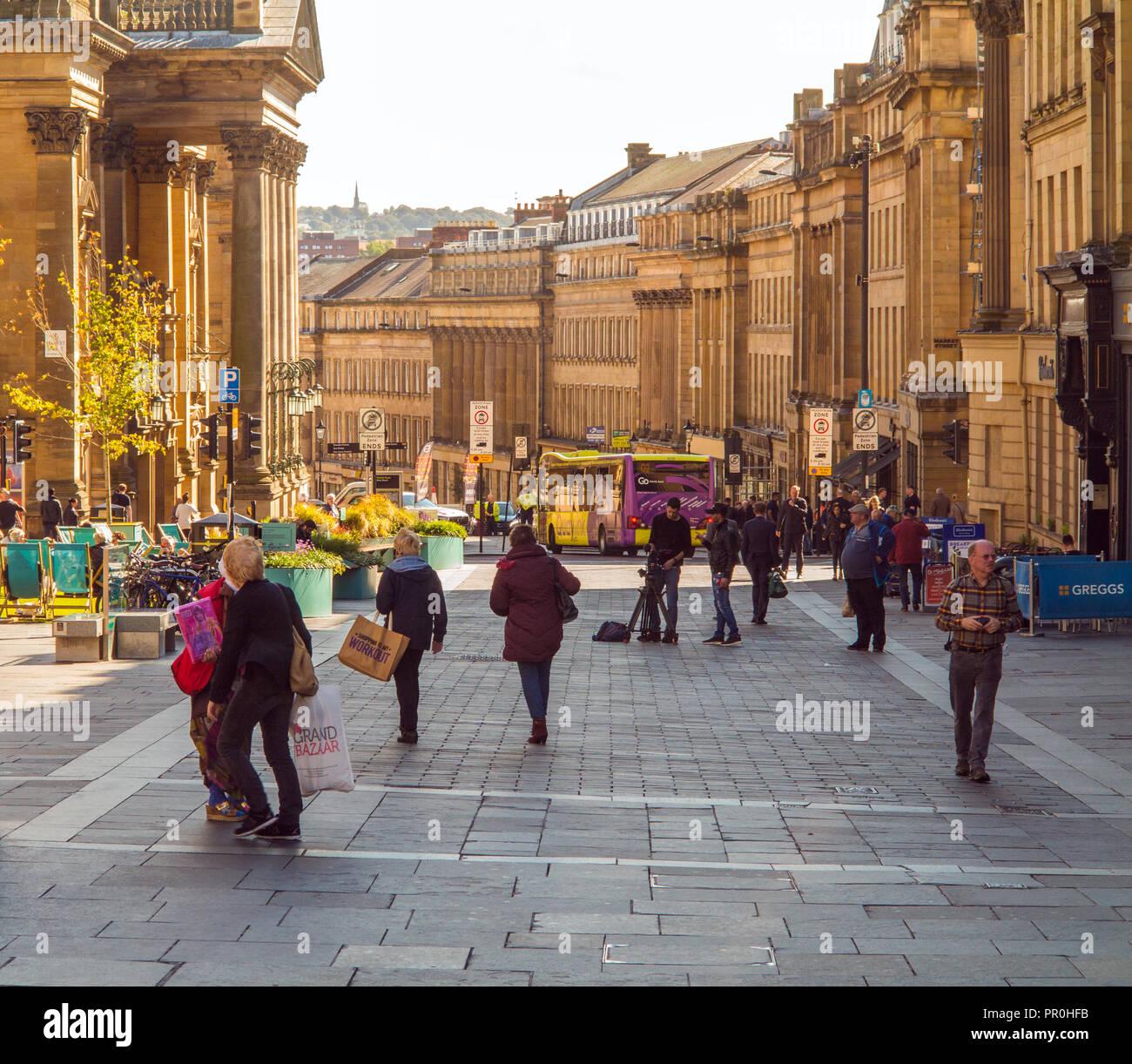 Shoppers in Grey street Newcastle upon Tyne - Stock Image