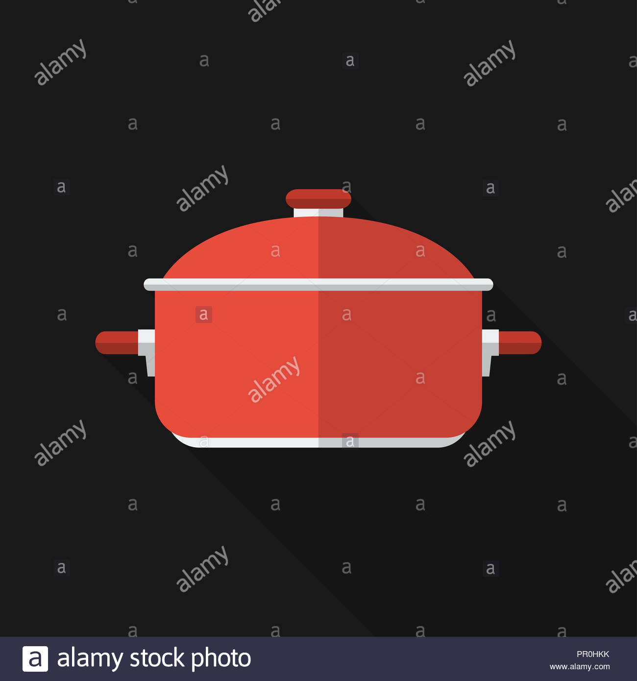 Flat saucepan with long shadow. icon, illustration. Modern design - Stock Image