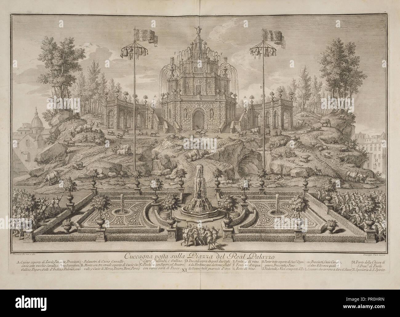 Cuccagna posta sulla piazza del real palazzo, Narrazione delle solenni reali feste: fatte celebrare in Napoli da Sua Maestà - Stock Image