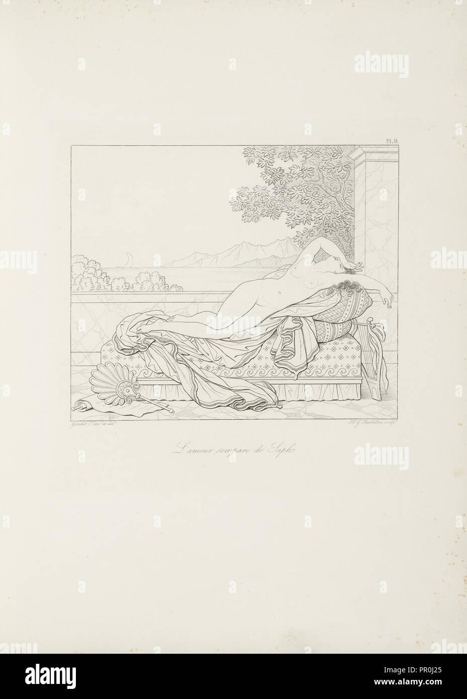 L'amour s'empare de Sapho, Sappho, Bion, Moschus, Chatillon, Henri Guillaume, ca. 1780-1856, Girodet-Trioson, Anne-Louis, 1767 - Stock Image