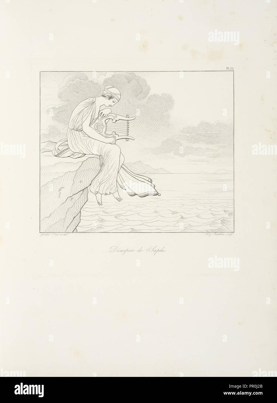 Désespoir de Sapho, Sappho, Bion, Moschus, Chatillon, Henri Guillaume, ca. 1780-1856, Girodet-Trioson, Anne-Louis, 1767-1824 - Stock Image
