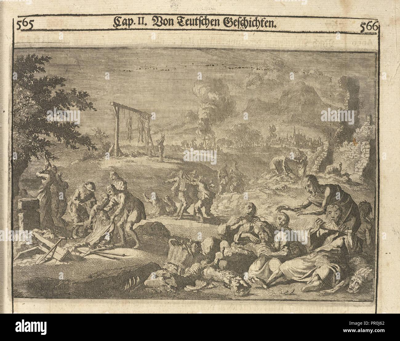 Famine of 1637, Allgemeine Schau-Bühne der Welt, oder, Beschreibung der vornehmsten Welt-Geschichte, Ludolf, Hiob, 1624-1704 Stock Photo
