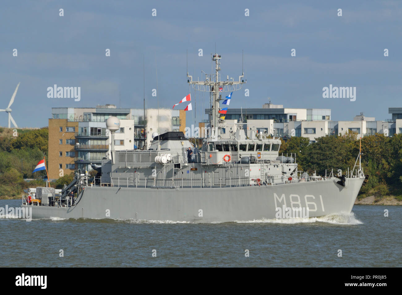 Royal Netherlands Navy Minesweeper on the River Thames in London during a port visit - Stock Image